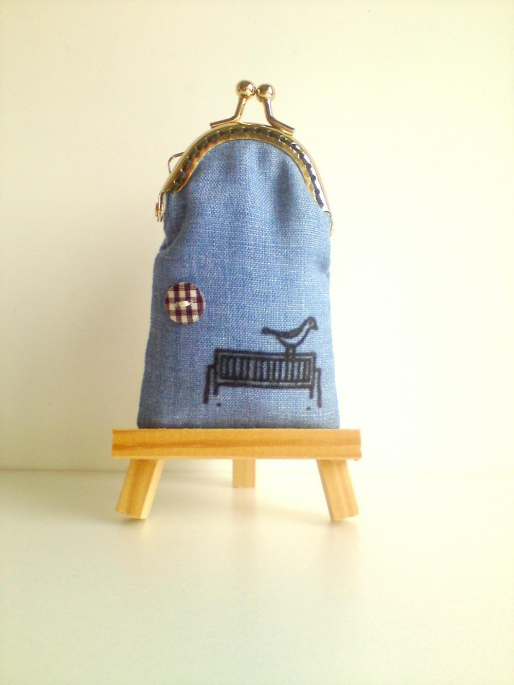 Linen Cotton Blue Bird Coin Purse