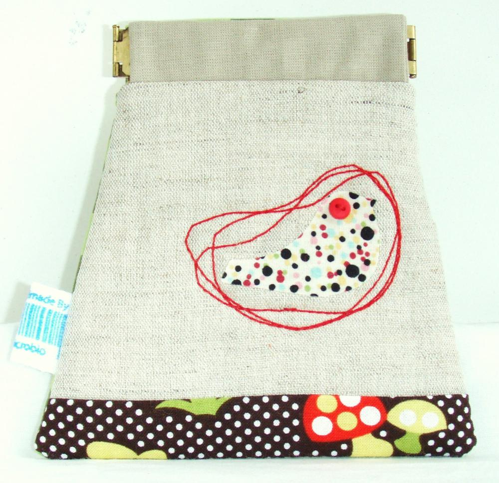 Bird and mushroom dots pouch in natural colour - flexible opening